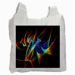 Aurora Ribbons, Abstract Rainbow Veils  White Reusable Bag (One Side)