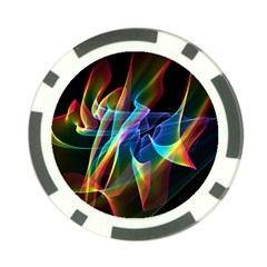 Aurora Ribbons, Abstract Rainbow Veils  Poker Chip (10 Pack)