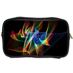 Aurora Ribbons, Abstract Rainbow Veils  Travel Toiletry Bag (One Side)