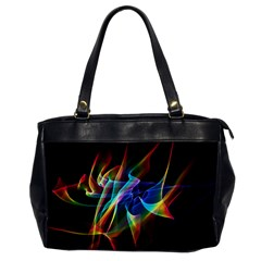 Aurora Ribbons, Abstract Rainbow Veils  Oversize Office Handbag (one Side)