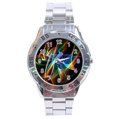 Aurora Ribbons, Abstract Rainbow Veils  Stainless Steel Watch