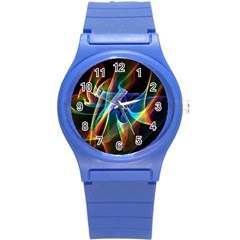Aurora Ribbons, Abstract Rainbow Veils  Plastic Sport Watch (Small)