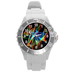 Aurora Ribbons, Abstract Rainbow Veils  Plastic Sport Watch (large)