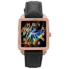 Aurora Ribbons, Abstract Rainbow Veils  Rose Gold Leather Watch
