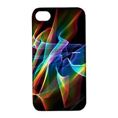 Aurora Ribbons, Abstract Rainbow Veils  Apple iPhone 4/4S Hardshell Case with Stand