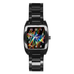 Aurora Ribbons, Abstract Rainbow Veils  Stainless Steel Barrel Watch