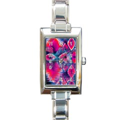 Cosmic Heart of Fire, Abstract Crystal Palace Rectangular Italian Charm Watch