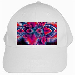 Cosmic Heart of Fire, Abstract Crystal Palace White Baseball Cap