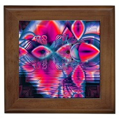 Cosmic Heart of Fire, Abstract Crystal Palace Framed Ceramic Tile