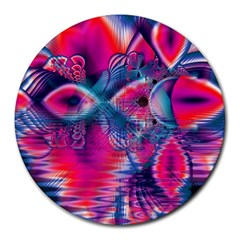 Cosmic Heart of Fire, Abstract Crystal Palace 8  Mouse Pad (Round)