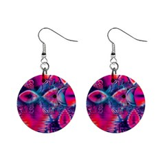 Cosmic Heart Of Fire, Abstract Crystal Palace Mini Button Earrings