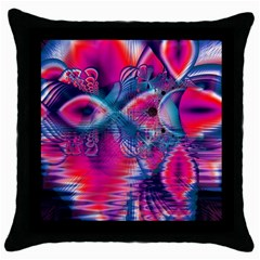 Cosmic Heart Of Fire, Abstract Crystal Palace Black Throw Pillow Case