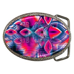 Cosmic Heart of Fire, Abstract Crystal Palace Belt Buckle (Oval)