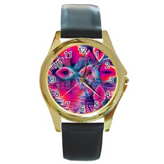 Cosmic Heart of Fire, Abstract Crystal Palace Round Leather Watch (Gold Rim)