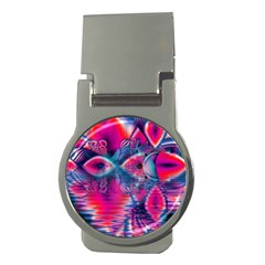 Cosmic Heart of Fire, Abstract Crystal Palace Money Clip (Round)