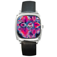 Cosmic Heart of Fire, Abstract Crystal Palace Square Leather Watch