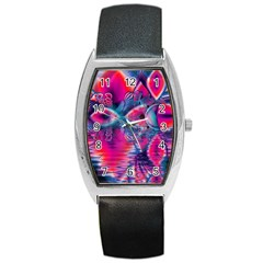 Cosmic Heart of Fire, Abstract Crystal Palace Tonneau Leather Watch