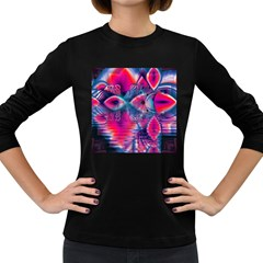 Cosmic Heart of Fire, Abstract Crystal Palace Women s Long Sleeve T-shirt (Dark Colored)