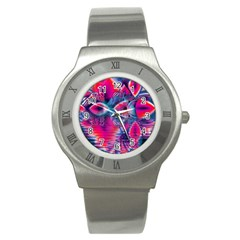 Cosmic Heart Of Fire, Abstract Crystal Palace Stainless Steel Watch (slim)