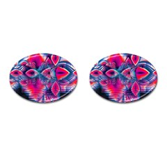 Cosmic Heart of Fire, Abstract Crystal Palace Cufflinks (Oval)