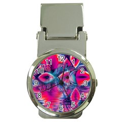 Cosmic Heart of Fire, Abstract Crystal Palace Money Clip with Watch