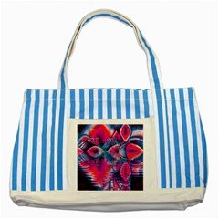 Cosmic Heart of Fire, Abstract Crystal Palace Blue Striped Tote Bag