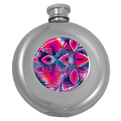 Cosmic Heart of Fire, Abstract Crystal Palace Hip Flask (Round)