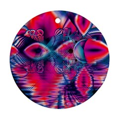 Cosmic Heart Of Fire, Abstract Crystal Palace Round Ornament (two Sides)