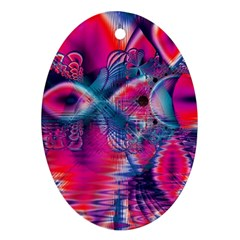 Cosmic Heart of Fire, Abstract Crystal Palace Oval Ornament (Two Sides)