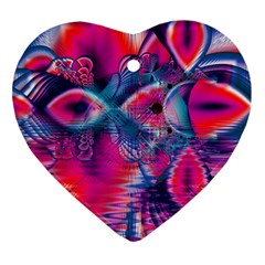 Cosmic Heart Of Fire, Abstract Crystal Palace Heart Ornament (two Sides)