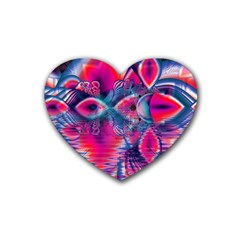 Cosmic Heart Of Fire, Abstract Crystal Palace Drink Coasters (heart)