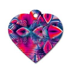 Cosmic Heart Of Fire, Abstract Crystal Palace Dog Tag Heart (two Sided)