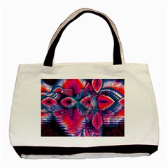 Cosmic Heart of Fire, Abstract Crystal Palace Twin-sided Black Tote Bag