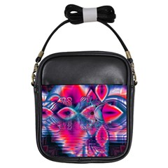 Cosmic Heart of Fire, Abstract Crystal Palace Girl s Sling Bag