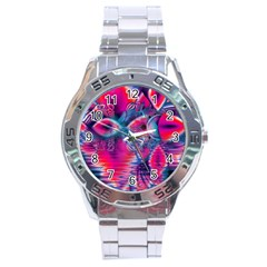 Cosmic Heart of Fire, Abstract Crystal Palace Stainless Steel Watch