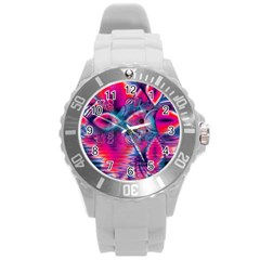 Cosmic Heart of Fire, Abstract Crystal Palace Plastic Sport Watch (Large)