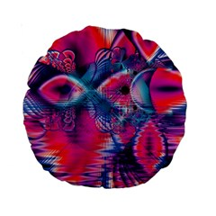 Cosmic Heart of Fire, Abstract Crystal Palace 15  Premium Round Cushion