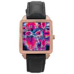 Cosmic Heart of Fire, Abstract Crystal Palace Rose Gold Leather Watch