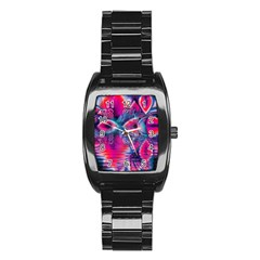 Cosmic Heart of Fire, Abstract Crystal Palace Stainless Steel Barrel Watch