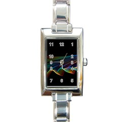 Flowing Fabric of Rainbow Light, Abstract  Rectangular Italian Charm Watch