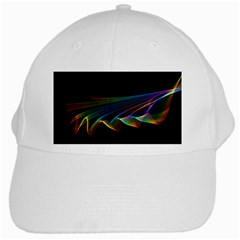 Flowing Fabric of Rainbow Light, Abstract  White Baseball Cap