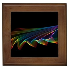 Flowing Fabric of Rainbow Light, Abstract  Framed Ceramic Tile