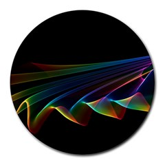 Flowing Fabric Of Rainbow Light, Abstract  8  Mouse Pad (round)