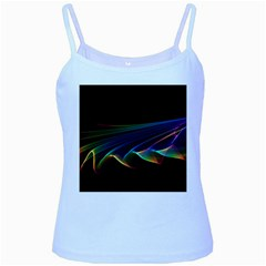 Flowing Fabric Of Rainbow Light, Abstract  Baby Blue Spaghetti Tank