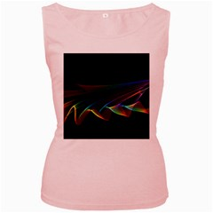 Flowing Fabric of Rainbow Light, Abstract  Women s Tank Top (Pink)