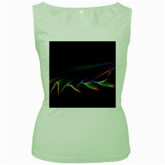 Flowing Fabric Of Rainbow Light, Abstract  Women s Tank Top (green)