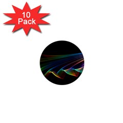Flowing Fabric Of Rainbow Light, Abstract  1  Mini Button Magnet (10 Pack)