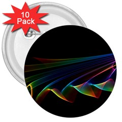Flowing Fabric of Rainbow Light, Abstract  3  Button (10 pack)