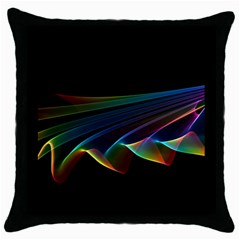 Flowing Fabric of Rainbow Light, Abstract  Black Throw Pillow Case