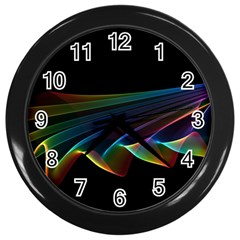 Flowing Fabric of Rainbow Light, Abstract  Wall Clock (Black)